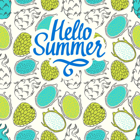 Seamless nature pattern with sketch of fruit. Green vector illustration of pitaya on white background. Tropical food. Hello summer. Illustration