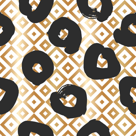 Seamless pattern with creative geometric gold texture. Vector illustration of black smudges on white background.
