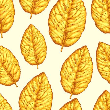 白い背景に黄色の葉を乾燥、シームレスなパターン。タバコのベクター イラストです。