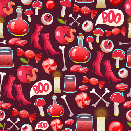 autumn background: Seamless halloween pattern. Funny background with scary objects. Vector set with eyes, potion, spider, candy, apple, worm, witches boots in cartoon style. Illustration