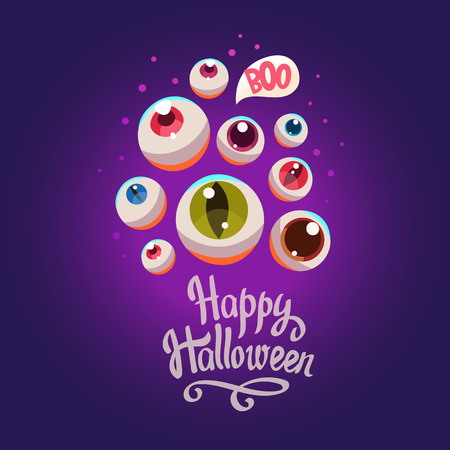 Halloween composition. Funny vector illustration with multicolor eyes potion for holiday in cartoon style. Illustration