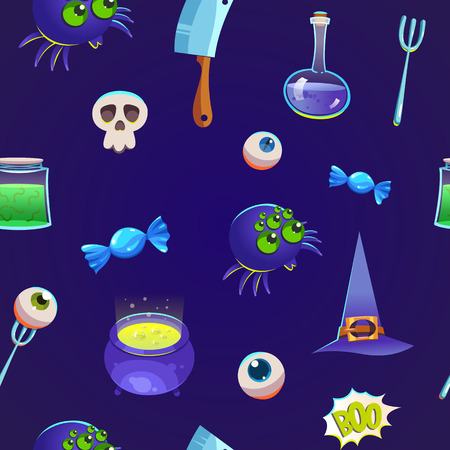 Seamless halloween pattern. Funny background with scary objects. Vector illustration with eyes, potion, spider, knife and witches hat in cartoon style.