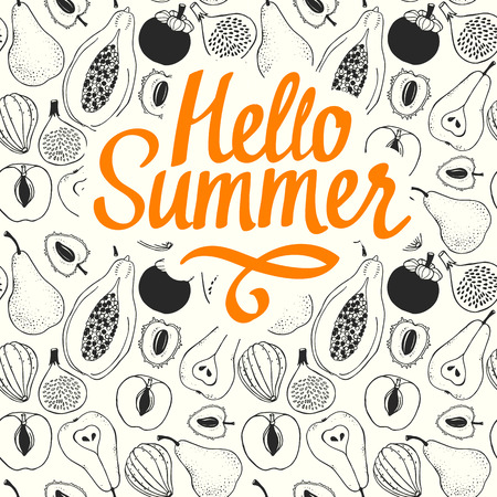 과일의 스케치와 원활한 자연 패턴입니다. 검은 벡터 그림 파파야, 무화과, 배, 복숭아, 망고 스틴, 흰색 배경에 열매의 그림. 열대 음식. 안녕하세요.