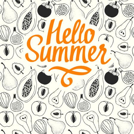 Naadloos aardpatroon met schets van fruit. Zwarte vectorlijnillustratie van papaja, fig., Peer, perzik, mangostan, litchi op witte achtergrond. Tropisch eten. Hallo zomer. Stock Illustratie