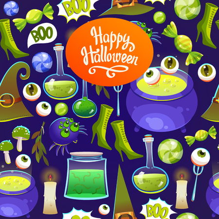 Seamless halloween pattern. Funny background with scary objects. Vector set with eyes, potion, bones, candy, pumpkin, witches hat in cartoon style.