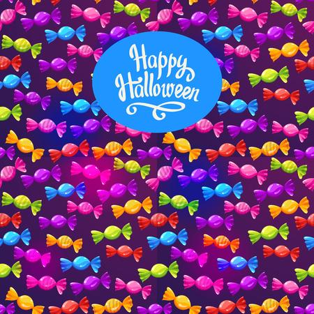 Cartel feliz de Halloween con patrón de dulces multicolores. Ilustración de vector divertido para vacaciones en estilo de dibujos animados. Fondo transparente. Foto de archivo - 86094537