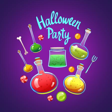 Composición de halloween feliz. ilustración divertida del vector con la poción roja para las vacaciones en estilo de dibujos animados . Foto de archivo - 86094539