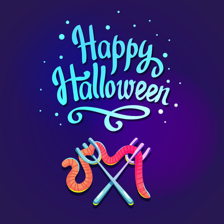 autumn background: Happy Halloween composition on dark violet background. Funny blue forks with worm. Vector illustration for holiday in cartoon style.