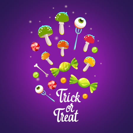 Happy Halloween composition. Funny vector illustration with multicolored potion, candies, and amanitas for holiday in cartoon style. Trick or treat poster.