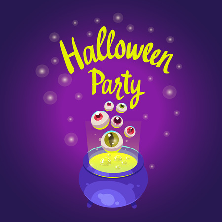 Halloween composition. Funny pot with green potion and scary eyes. Vector illustration for holiday in cartoon style.