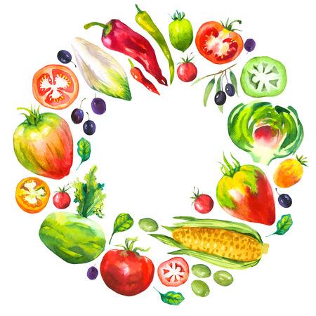 Waterverfillustratie met ronde samenstelling van landbouwbedrijfillustraties. Groenten set: artisjokken, tomaat, olijven, bloemkool, cichorei, maïs, tomaat, spinazie, paprika. Verse biologische voeding.