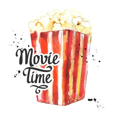 Watercolor illustration with sketch popcorn bucket. Sketch design. Cinema snack. Hand drawn fast food. Movie Time poster. Retro movie festival.