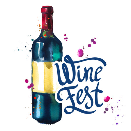 Watercolor illustration with bottle in sketch style for drink list. Poster with illustration beverages. Wine festival. Brush calligraphy illustrations for your design. Handwritten ink lettering.