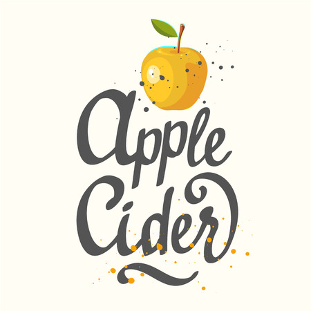 Vector illustration with apple cider in sketch style on white background. Brush calligraphy elements for your menu design. Handwritten ink lettering.