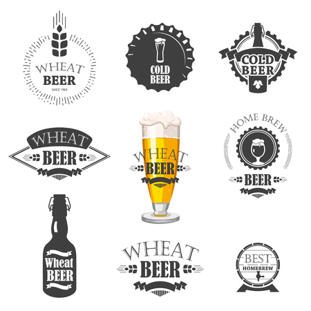 Vector Illustration with beer pub logo and labels. Simple symbols glass, bottle. Traditions of drink. Decorative elements for your design. Black white style.