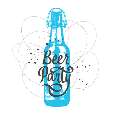 Drink menu. Vector illustration with bottle in sketch style for pub. Beer party poster. Alcoholic beverages. Handwritten ink lettering.