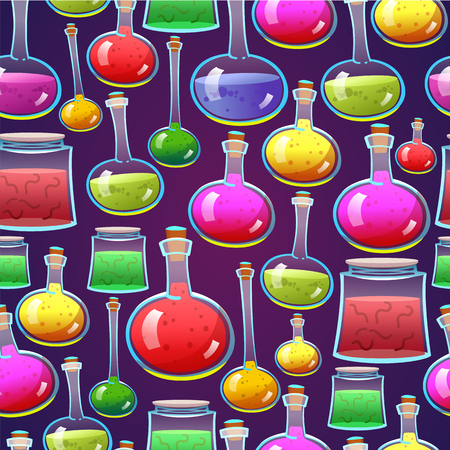 Seamless halloween pattern. Funny background with scary objects. Vector set with colorful potions in cartoon style.