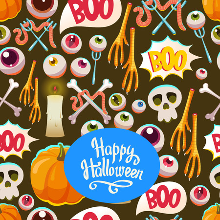 Seamless halloween pattern. Funny background with scary objects. Vector set with eyes, candle, skull, pumpkin, chicken feet, worm, bones in cartoon style.