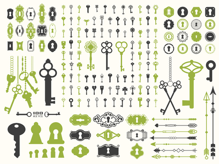 Vector illustration with design illustrations for decoration. Big silhouettes set of keys, locks, arrows, illustrations on white background. Vintage style.