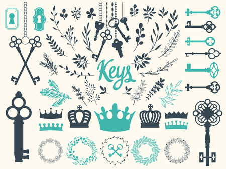 Vector illustration with design illustrations for decoration. Big silhouettes set of keys, wreaths, crown, branch on white background. Vintage style. Illustration