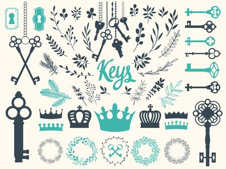 Vector illustration with design illustrations for decoration. Big silhouettes set of keys, wreaths, crown, branch on white background. Vintage style. Ilustração