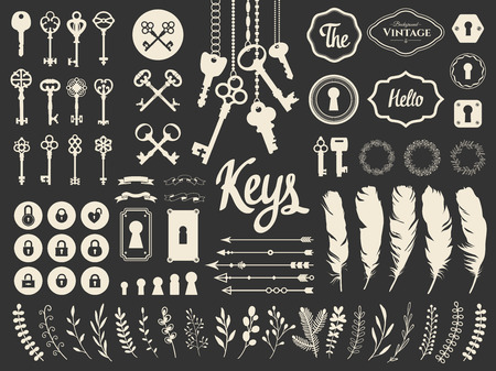 Vector illustration with design illustrations for decoration. Big silhouettes set of keys, locks, wreaths, illustrations, branch, arrows, feathers on white background. Vintage style. 向量圖像