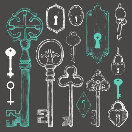 Vector set of hand drawn antique keys. Illustration in sketch style on black background. Old design.