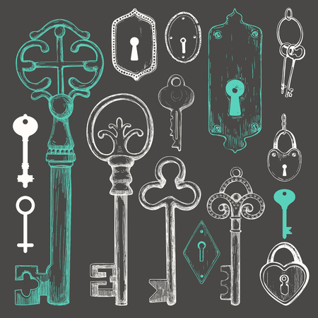 Vector set of hand drawn antique keys. Illustration in sketch style on black background. Old design.