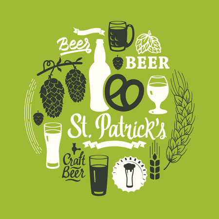 St. Patricks Day. Different types of beer, cider and snack in sketch style. Round composition for pub menu. Vector illustration with drinks on white background.