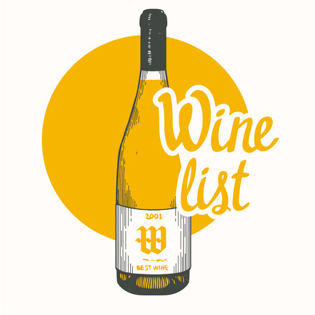 Vector illustration with bottle in sketch style for wine list. Poster  alcoholic beverages. Tasting party. Brush calligraphy illustrations  your design. Handwritten ink lettering.