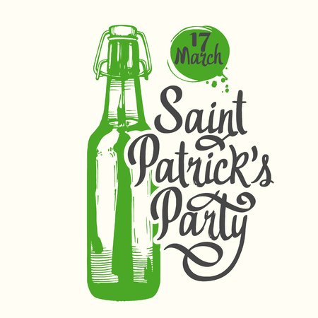 Happy St. Patricks Day. Vector illustration with beer bottle and congratulations in sketch style. Drink menu for celebration. Irish tradition. Stock Photo
