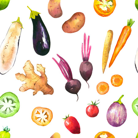 Watercolor illustration with composition of farm grown illustrations. Seamless pattern on white background. Vegetables set: tomatoes, potatoes, carrots, beets, eggplant, ginger. Fresh organic food.