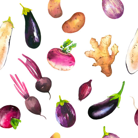 Watercolor illustration with composition of farm grown illustrations. Seamless pattern on white background. Vegetables set: potatoes, beets, eggplant, turnips, ginger root, onion. Fresh organic food.