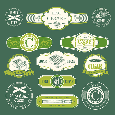 Vector Illustration with labels. Simple symbols of tobacco and cigar.