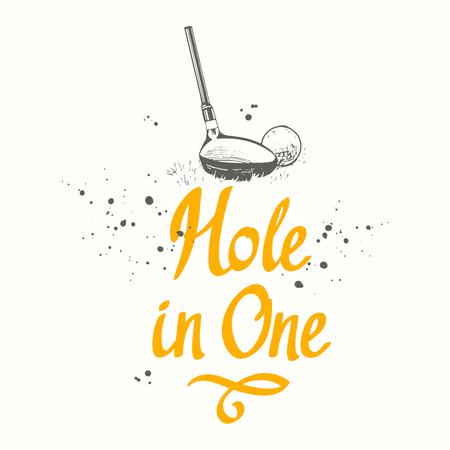 ゴルフ。手描きスポーツ用品のベクトルセット。白い背景にスケッチスタイルのイラスト。あなたのデザインのためのブラシ書道要素。手書きイン