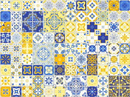 Seamless pattern with Portuguese tiles. Vector illustration of Azulejo on white background.