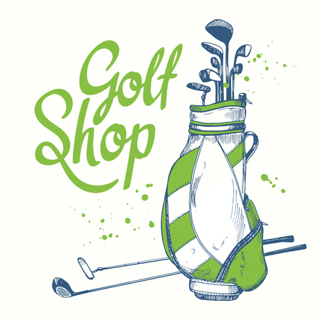 Golf bag. Vector set of hand-drawn sports equipment.