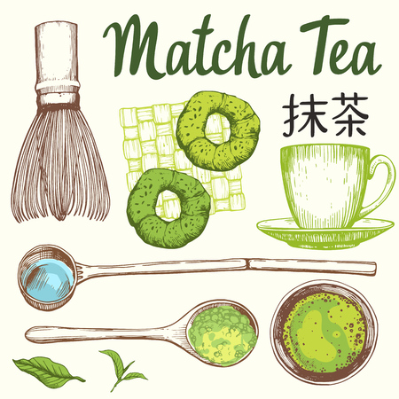 Japanese ethnic and national tea ceremony. Matcha. Traditions of teatime. Decorative elements for your design. Vector Illustration with party symbols on white background. Stock Vector - 97309234