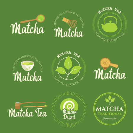 Japanese ethnic and national tea ceremony. Matcha icon set. Traditions of teatime. Decorative elements for your design. Vector illustration with party symbols on green background.  イラスト・ベクター素材