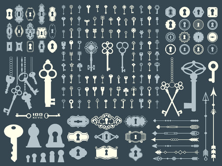 Big silhouettes set of keys, locks, arrows, illustrations on dark blue background.