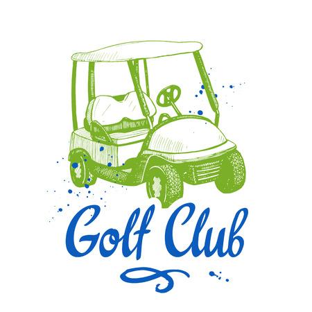 Golf car. Vector set of hand-drawn sports equipment. Illustration