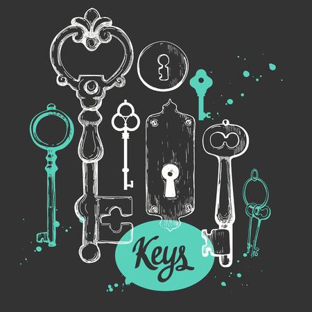 Vector set of hand-drawn antique keys. Illustration in sketch style on black background. Old design Illustration