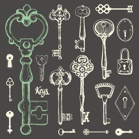 Vector set of hand-drawn antique keys. Illustration in sketch style on black background. Old design Illustration