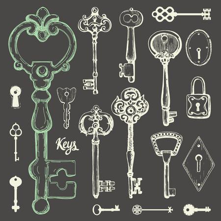 Vector set of hand-drawn antique keys. Illustration in sketch style on black background. Old design Ilustração