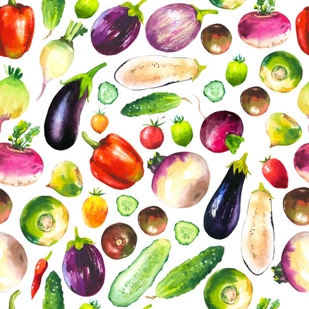 Watercolor illustration with composition of farm grown illustrations. Seamless pattern on white backgroun. Vegetables set: pepper, cucumber, turnip, radish, eggplant, tomato. Fresh organic food. Stock Photo