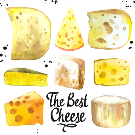 Watercolor illustration with different noble cheeses: camembert, gouda, parmesan, blue, edammer, maasdam, brie, roquefort. Snack bar. Farm dairy illustrations. Fresh organic food. Stock Photo
