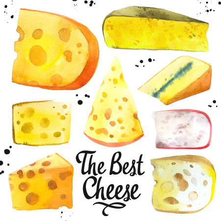 Watercolor illustration with different noble cheeses: camembert, gouda, parmesan, blue, edammer, maasdam, brie, roquefort. Snack bar. Farm dairy illustrations. Fresh organic food. Фото со стока
