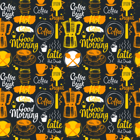 Seamless coffee sketch background. Hot drinks menu. Vector Illustration pattern with cup, maker, beans, spoon, labels. Ilustração