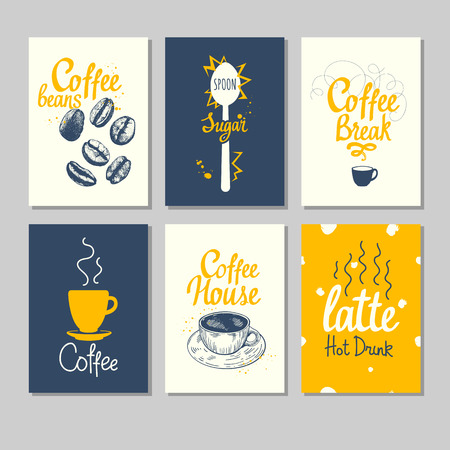 Set of coffee sketch. Hot drinks menu. Vector Illustration with cup,  maker and brush calligraphy illustrations for your  design. Handwritten ink lettering.