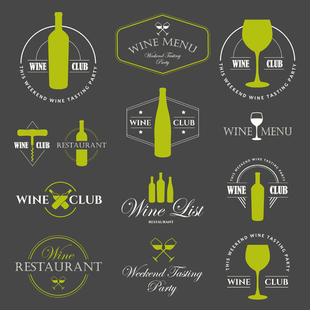 Vector Illustration with wine list icon and labels. Simple symbols glass, bottle for restaurant or winery. Traditions of drink. Decorative design illustrations. Black white style.